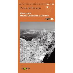 Mapa TOP 25 Picos de Europa Norte Macizo Occidental o Cornión