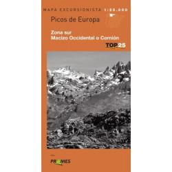 Mapa TOP 25 Picos de Europa Sur Macizo Occidental o Cornión